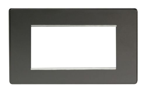 Varilight XDIG4S Screwless Iridium Black DataGrid Twin Plate (4 DataGrid Spaces)